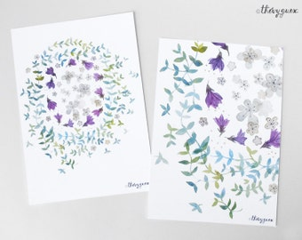Flower circle watercolor postcard, Pastel flower illustration card, Botanical painting, Flower stationery, Cute stationery, Flower art