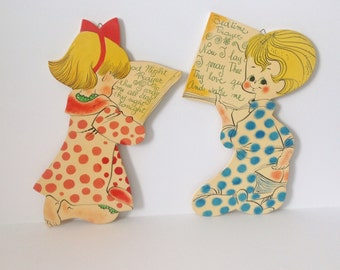 Nursery Wall Plaques Boy & Girl Bedtime Prayers Italy 1960s