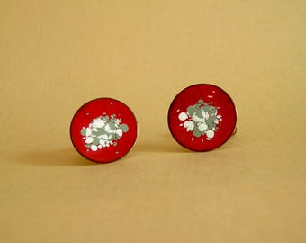 Vintage Red Round Enameled Copper Modernist Abstract Design Cuff Links