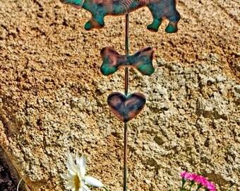 ON SALE Basset Hound Grave Marker Garden Stake / Metal Dog Angel / Pet Memorial /  Garden Copper Art / Outdoor / Dog Memorial / Pet Lovers G