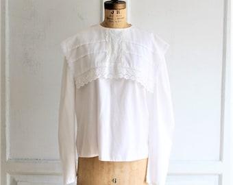 80s vintage white lace blouse | Victorian style