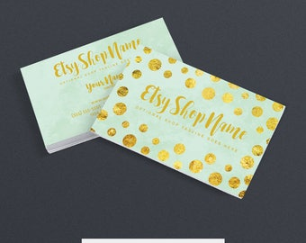 Business Cards For Etsy Shop - 2 Sided Printable Business Card Design - Glam Dot 1