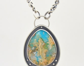 regency plume agate turquoise doublet framed sterling silver pendant necklace