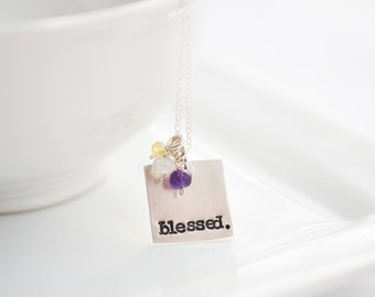 Mothers Day Gift Ideas - Blessed Necklace - Custom Mothers Day Jewelry - Mothers Birthstone Silver Necklace - Birthstone Mothers Jewelry