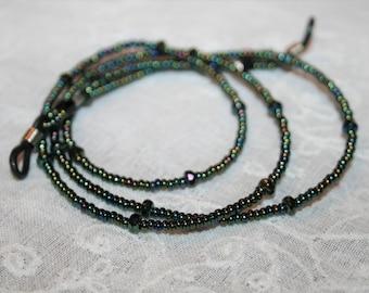 Beaded Eyeglass Chain,Holiday Gift,Handmade,Womans Gift,Eyeglass holder,Metallic Green Iris,Beaded string for Glasses,Gift for Mom,Gift Idea