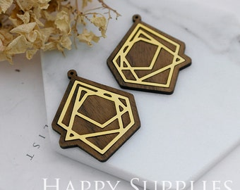 Limited Edition - 2pcs Handmade 24K Gloden Brass Wooden Charm / Pendant, Perfect for Earring Necklace (LES06)