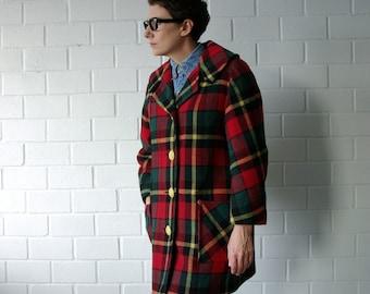 red plaid 3/4 length 50s coat - 1211283
