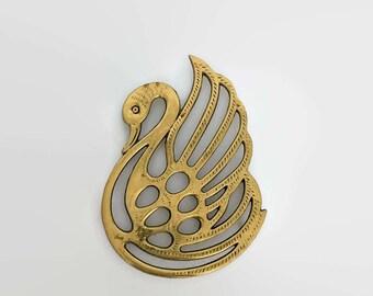 Vintage Brass Swan Trivet