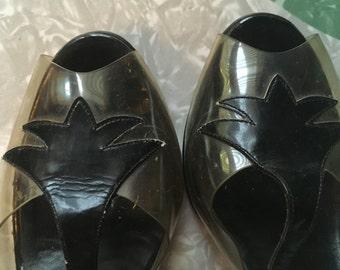 1950s T-Strap Black & Vinyl Heels