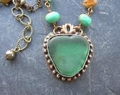 Sea glass pendant necklace - Castaway - green beach glass, soldered jewelry, blue, gold, summer artisan boho jewelry by 3DivasStudio
