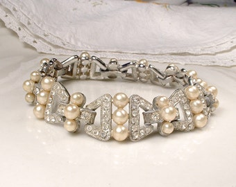 Antique 1930s Pearl Rhinestone Bracelet, Silver Wide Link Glass Ivory Pearl Art Deco Bridal, Pave Paste Great Gatsby Vintage Wedding Jewelry