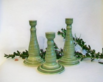 Spring Green Candlestick Holders - Set of 3 -  Ready to Ship - Handmade, Thrown on the Potters  Wheel