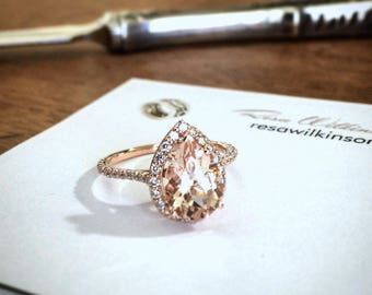 Pear Shape Morganite Diamond Halo Rose Gold Engagement Ring