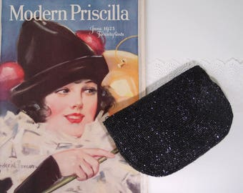 1940s Jet Black Beaded Clutch Bag cut glass beads structured half moon design handbag purse