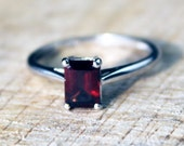 Sterling Silver Garnet Solitaire Ring Wedding Engagement Baguette Gemstone FREE SHIPPING Size O / 7.25