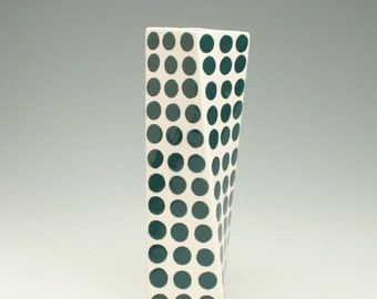 Deep Teal Green Polka Dot Ceramic Flower Vase, Tall Modern Pottery Vase, Polka Dot Twisted Vase, Green Dotted Vase, Office Desk Accessories