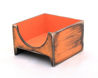 FREE SHIPPING - Orange Napkin holder, Wood napkin holder, Unique home decor in Rustic style, Birthday - Wedding gift, Spring decor
