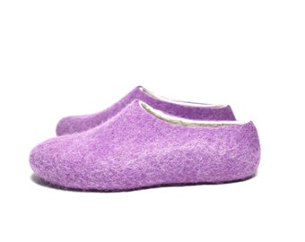 Women Felt Slipper Purple Lilac White, Natural Wool House Shoes, Ballet Flats, Color Blocking, Rubber Soles, Traditional Felt, Holiday Gift