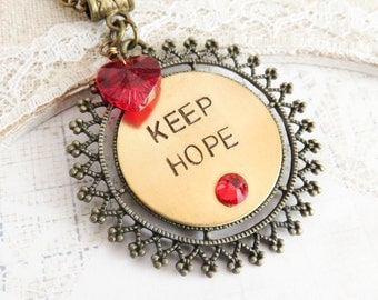 Keep Hope necklace, charm necklaces, hand stamped jewelry, rustic jewelry, sayings, inspirational necklace, gift for her