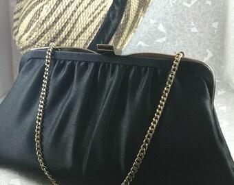 vintage black satin clutch evening bag