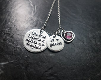 The Love Between a Mother and Daughter is Forever  / Mother Daughter Necklace / Mother Daughter Jewelry / Charm Necklace