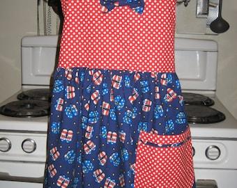 Flip Flops and Polka Dots Ladies, Tween, Teen Halter Apron