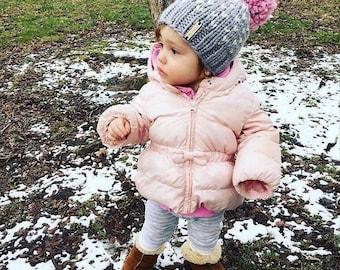 Oversized Pom Pom Hat / Baby Toddler Child Large Pom Beanie / Tiny Hearts Pom Hat