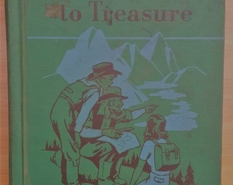 Vintage childrens HC book primer Trails To Treasure Ginn Basic Reader 1949 elementary school textbook English teacher illustrated