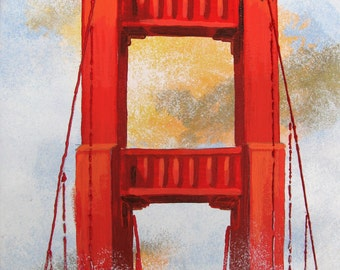 "Golden Gate Bridge in the fog, Red, San Francisco California, The Head in the Clouds,Original Painting, 11""x14"",  Free Shippind in USA."
