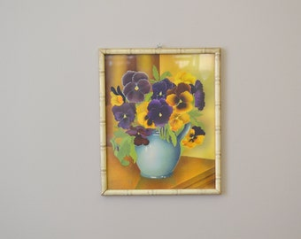 1940s Pansies Framed Watercolor Print