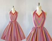 Vintage 50s Dress/ 1950s Cotton Dress/ Colorful Striped Halter Cotton Dress L