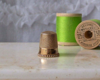 Vintage 14K Gold Thimble Ketcham and McDougall Size 8 ca 1910s Quilter Seamstress Thimble Collector