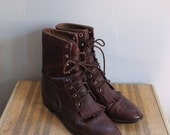 Vintage Brown Leather Roper Kiltie Boots - Size US 9 / UK 6.5