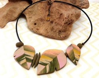 Pastel Leaf Feather Necklace, artisan boho statement necklace, unique handmade polymer clay, mother's day original design, beige pink olive
