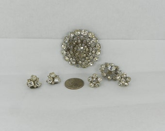 Vintage 1950s Rhinestone Jewelry Lot Two Brooches Pins Starburst ClipOn Screwback Earrings Signed Weiss Prong Pronged Rivet Rivetted Faceted