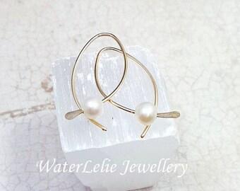 10k Gold Earrings. Solid Gold earrings. Pearl earrings. genuine 10k Gold hoops. minimalist earrings. real gold wire earrings. Fish hoops