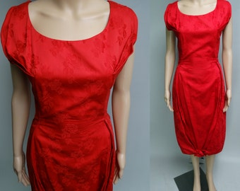Vintage 1950s Dress | Red Dress | Cocktail Dress | Imported Fabric | 1950s Party Dress | 50s Dress | Designer Dress