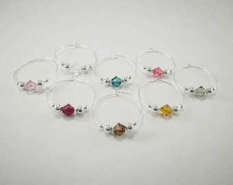 8 wine charms | Swarovski ® Crystal Elements - silver wine glass charms - gift box - unique wine gifts - wine lover gift- wine markers SSC81