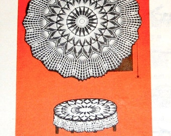 "Vintage 1950s Design Mail Order Crochet Craft Pattern 7589, Crocheted Fan Edge Sunburst Cloth, 68"" 45"" Round Thread Lace Centerpiece Doily"