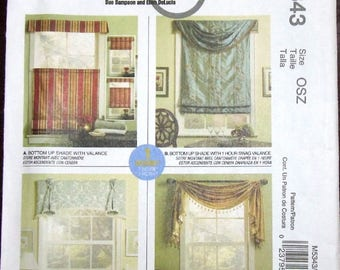 Home Dec in a Sec Fabric Saver Sewing Pattern McCall's 5343 One Hour Easy Window Treatments Valance, Topper, Swag, Shade Uncut Factory Folds