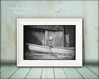Old Rustic Boats, Black & White Photograph, Fine Art Print, Wooden Dinghy, Maine, Rowboats, Monochrome, Vintage Home Decor, Beach Art