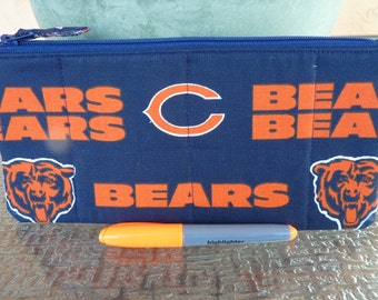 Handcrafted Chicago Bears Zipper Pencil Case/Travel Bag/ Pouch/ Gadget Bag