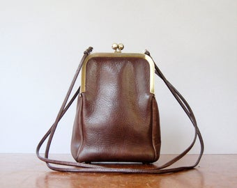 Uncommon Vintage Coach Double Kisslock / Kiss Lock Swing Bag Brown Early