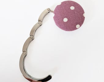 Handbag Hook, Purse Hook Hanger, Bag Hook, Folding Purse Hanger in Pink White Polka Dots