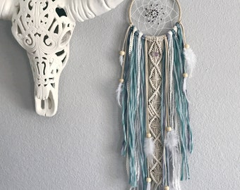 Pastel Dream Catcher // Macrame Wall Art Decor, Ivory Turquoise Aqua Purple Yarn, Amethyst Stones, White Feather, Boho Teen, Baby Nursery