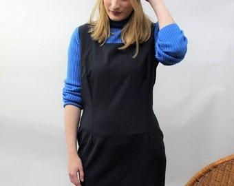 Navy Blue Tailored Pinafore Shift Dress Size UK 12/14, US 8/10, EU 40/42