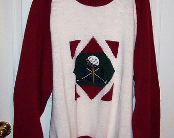 SAlE 80% Off Vintage Men's Burgundy & White Golf Sweater by Ivy Club Classics XL Now 2 USD