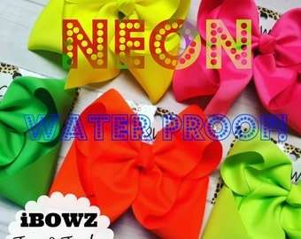 5 pack bundle    Waterproof Beach Swimming    Southern Boutique Style Bows   Baby to Older Girls   Neon colors   swimsuit bows   Bundle bows