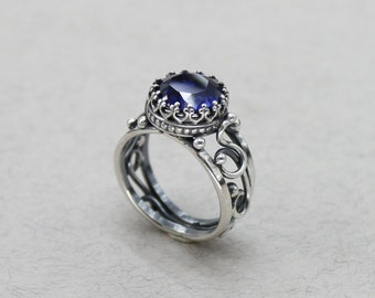 Antique Engagement Ring Vintage Rings For Women Rings For Men Sapphire rings Antique Ring Sterling Silver Antique Jewelry Blue stone ring