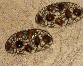 Musi Shoe Clips Gold Filigree Amber Cabochons Rhinestones Oval Vintage Scarf Handbag Shoe Jewelry